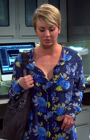 Penny's navy blue floral long sleeved blouse on The Big Bang Theory