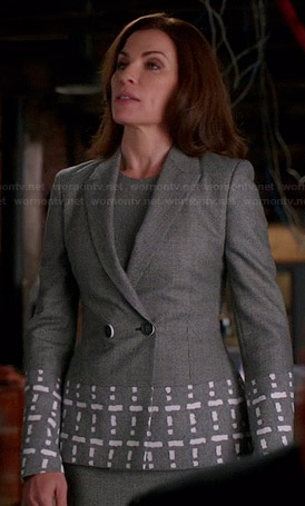 Alicia's grey blazer with geometric printed panels on The Good Wife