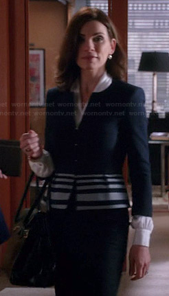 Alicia's black jacket with striped peplum on The Good Wife