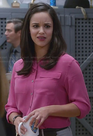 Amy's pink flap pocket blouse on Brooklyn Nine-Nine