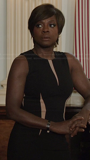 Annalise's black contrast panel dress on How to Get Away with Murder