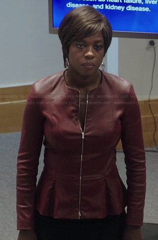 Annalise's red peplum leather jacket on How to Get Away with Murder