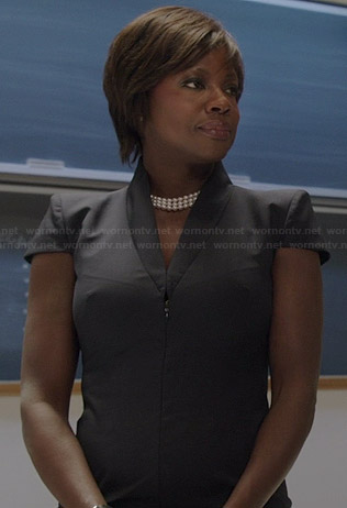 Annalise's black cap sleeve zip front dress on How to Get Away with Murder