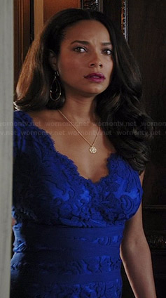 April's blue lace dress on Mistresses