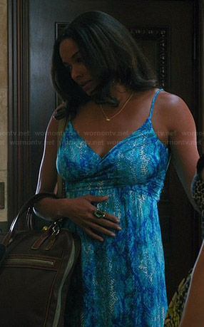 April's blue snake print maxi dress on Mistresses