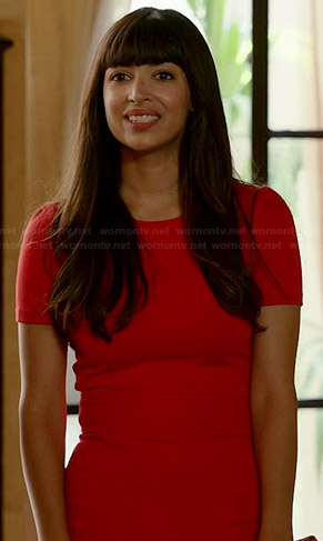 Cece's red short sleeved fitted dress on New Girl