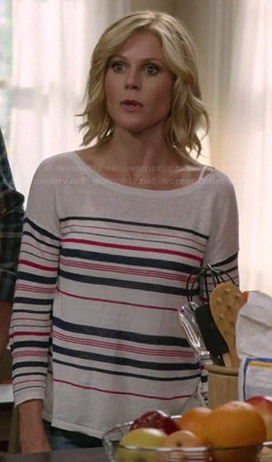 Claire's pink and navy striped sweater on Modern Family