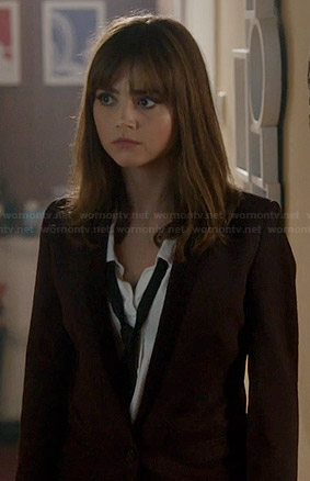 Clara's burgundy blazer and white shirt with black tie on Doctor Who