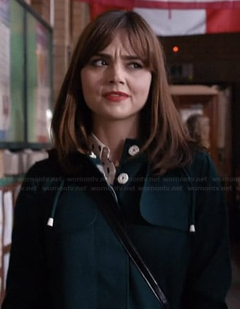 Clara's green coat with white buttons on Doctor Who