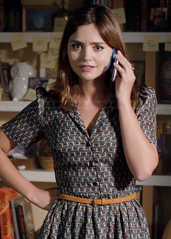 Clara's green geometric printed shirtdress on Doctor Who