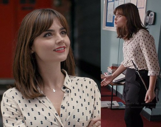 Clara's white diamond printed shirt and scalloped shorts on Doctor Who