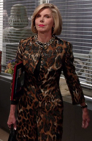 Diane's leopard print coat on The Good Wife