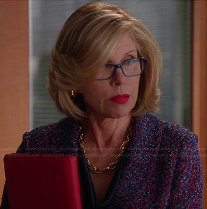 Diane's purple knit jacket on The Good Wife