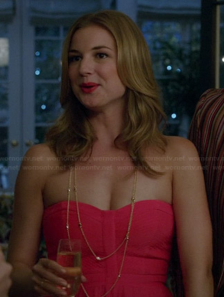 Emily's red strapless gown on Revenge