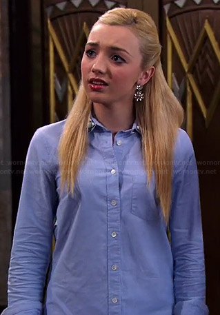 Emma's blue shirt with jewel embellished collar on Jessie