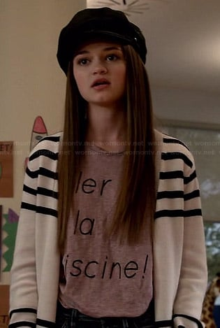 "Emma's ""aller a la piscine!"" tee, striped cardigan and embroidered cap on Red Band Society"