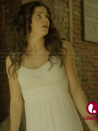Freya's white crochet maxi dress on Witches of East End