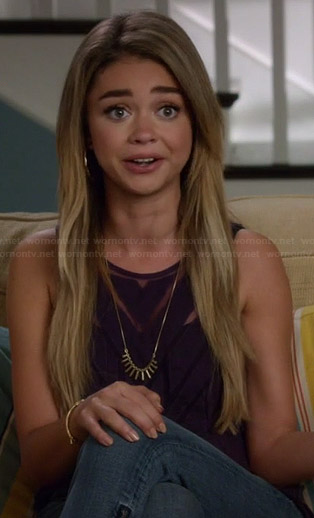 Haley's sheer black chevron top on Modern Family