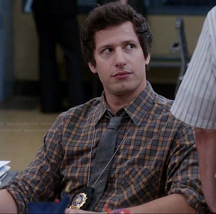 Jake's grey and orange plaid shirt on Brooklyn Nine-Nine