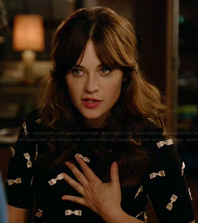Jess's black and white bow covered top on New Girl