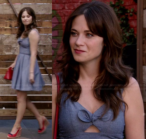 Jess's chambray bow front dress with red wedges and bag on New Girl
