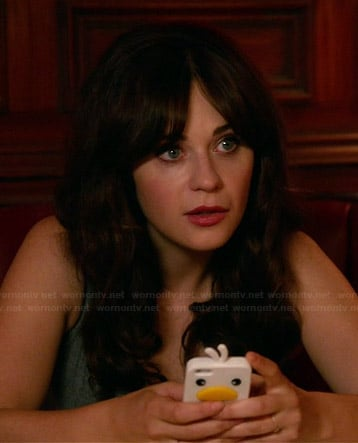 Jess's white duck iPhone cover on New Girl