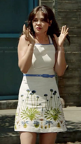 Jess's white floral dress with blue trim on New Girl
