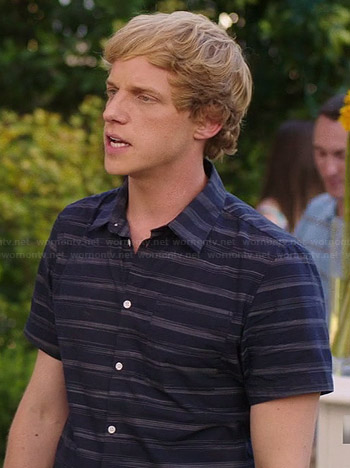 Jimmy's navy blue striped shirt on You're the Worst