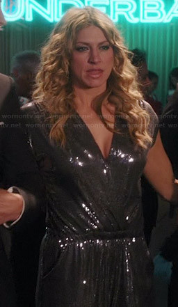 Josslyn's silver sequin jumpsuit on Mistresses