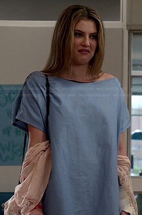 Kara's blush pink lace inset kimono on Red Band Society