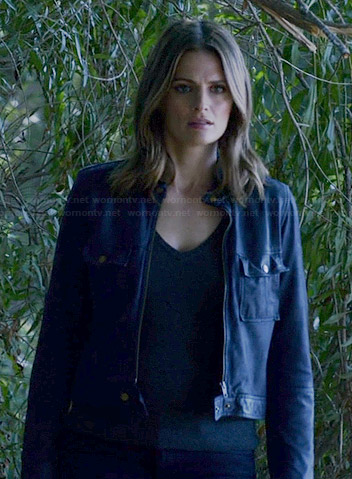Kate's blue leather jacket with front pockets on Castle