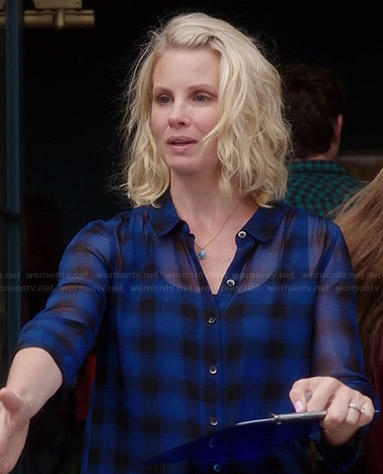 Kristina's blue checked shirtdress on Parenthood