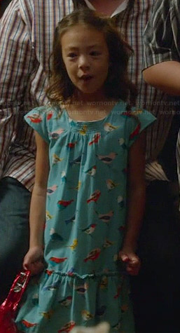 Lily's blue bird print dress on Modern Family