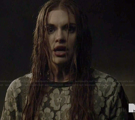 Lydia's grey floral lace top on Teen Wolf