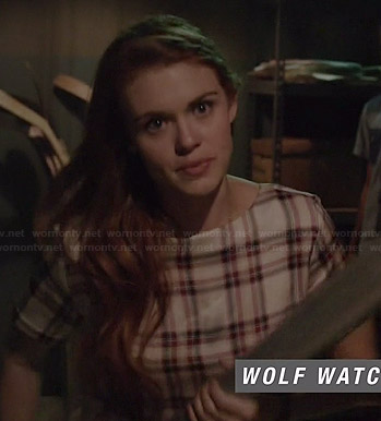 Lydia's white plaid top on Teen Wolf