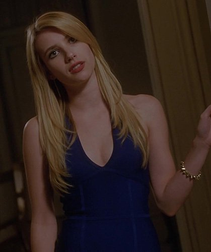 Madison's blue v-neck dress on American Horror Story