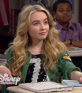 "Maya's sequined ""76"" top and green army jacket on Girl Meets World"
