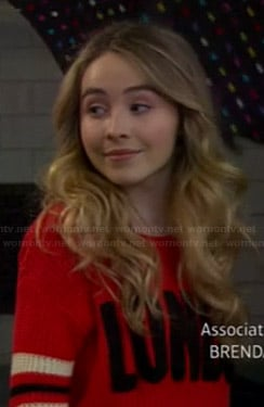 "Maya's red ""London"" sweater on Girl Meets World"