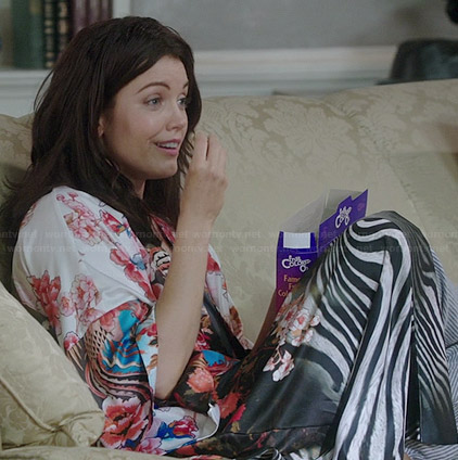 Mellie's floral and zebra stripe robe on Scandal
