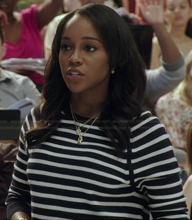 Michaela's black and white striped sweater on How to Get Away with Murder