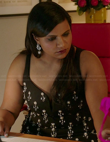 Mindy's black crystal embellished dress on The Mindy Project