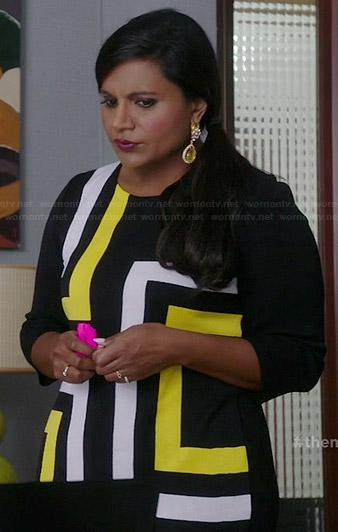 Mindy's black and yellow geometric print dress on The Mindy Project
