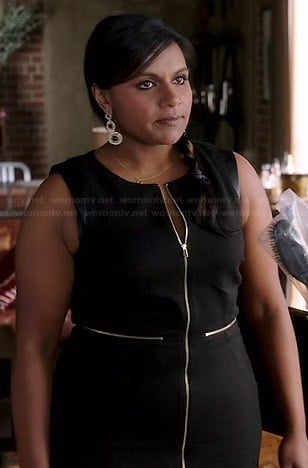 Mindy's black zip front dress on The Mindy Project