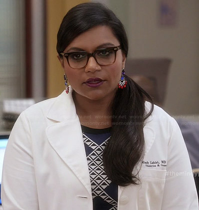 Mindy's blue geometric patterned dress on The Mindy Project