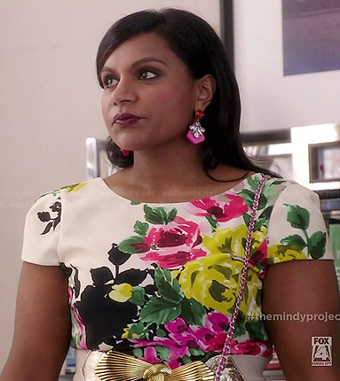 Mindy's floral cap sleeve dress on The Mindy Project