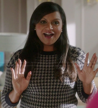 Mindy's houndstooth sweater on The Mindy Project