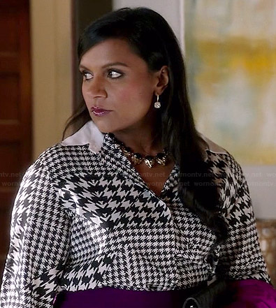 Mindy's mixed houndstooth print shirt on The Mindy Project