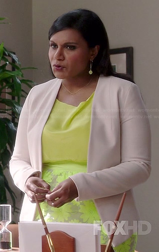 Mindy's neon yellow floral skirt and white blazer on The Mindy Project
