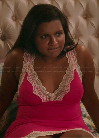Mindy's pink lace trimmed chemise on The Mindy Project