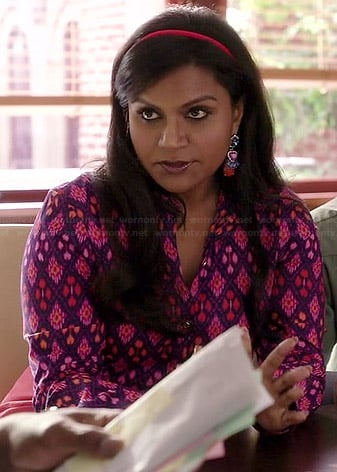 Mindy's pink and purple diamond patterned shirt on The Mindy Project
